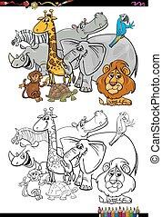 livre coloration, animaux, dessin animé, safari