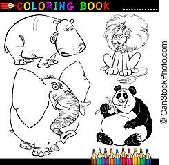 livre, coloration, animaux, ou, page