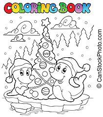 livre, coloration, arbre, deux, cachets