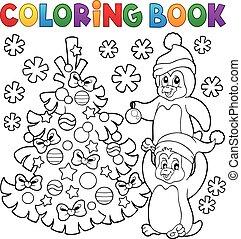 livre, coloration, arbre, pingouins, noël