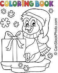 livre coloration, cadeau, manchots