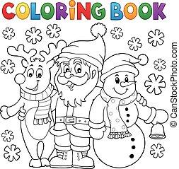 livre coloration, caractères, noël