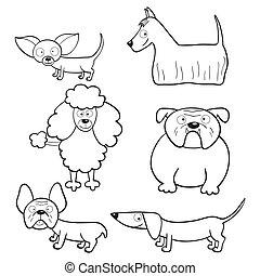 livre, coloration, chiens, dessin animé