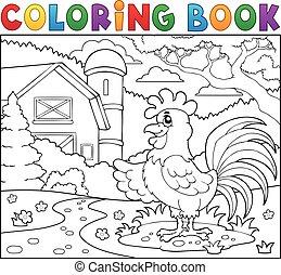 livre coloration, coq, près, ferme