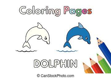 livre, coloration, dauphin, dessin animé