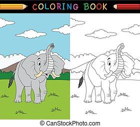 livre coloration, dessin animé, éléphant