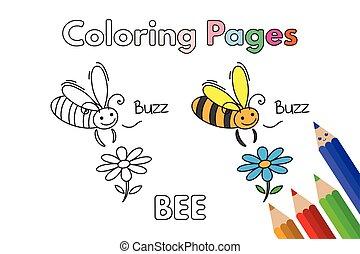 livre coloration, dessin animé, abeille