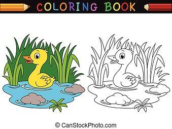 livre coloration, dessin animé, canard