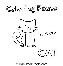 livre coloration, dessin animé, chat
