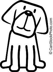 livre coloration, dessin animé, chien
