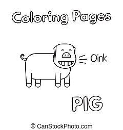livre coloration, dessin animé, cochon