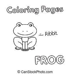 livre coloration, dessin animé, grenouille