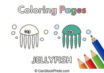 livre coloration, dessin animé, méduse