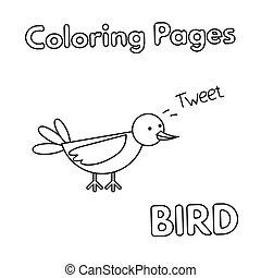 livre coloration, dessin animé, oiseau