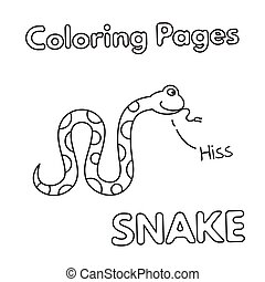 livre coloration, dessin animé, serpent