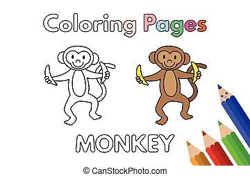 livre coloration, dessin animé, singe
