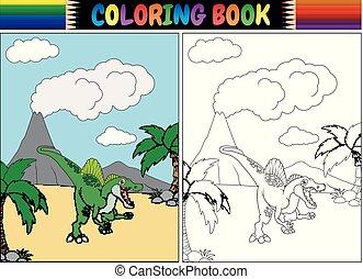 livre, coloration, dessin animé, spinosaurus