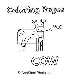 livre coloration, dessin animé, vache