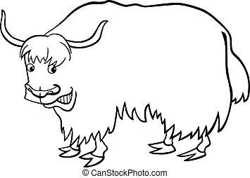 livre coloration, dessin animé, yak