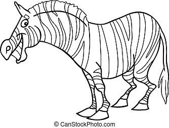 livre coloration, dessin animé, zebra