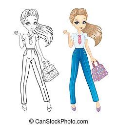 livre, coloration, girl, business