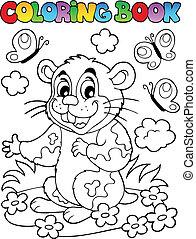 livre, coloration, hamster, dessin animé