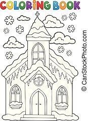livre coloration, hiver, église, bâtiment, 1