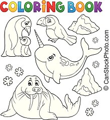 livre coloration, hiver, animaux, topic, 1