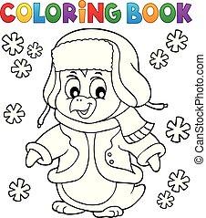livre coloration, hiver, manchots, topic, 1