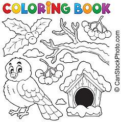 livre coloration, hiver, oiseau, thème, 1