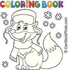 livre coloration, hiver, renard, thème, 1