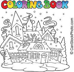 livre coloration, hiver, ville, image, 1