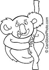 livre coloration, koala, dessin animé