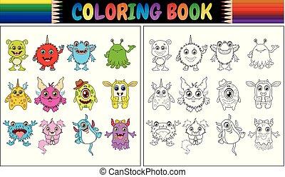 livre, coloration, monstres, collection, dessin animé