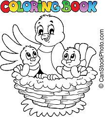 livre coloration, oiseau, thème, 1