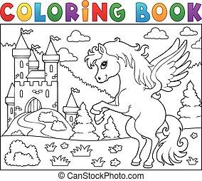 livre coloration, pégase, près, château