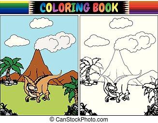 livre coloration, parasaurolophus, dessin animé