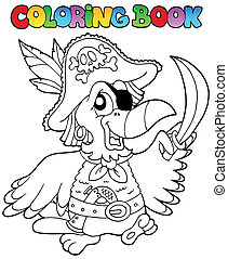 livre coloration, perroquet, pirate