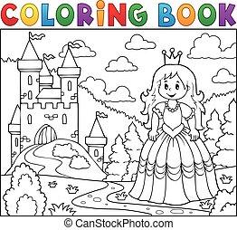 livre coloration, princesse, près, château
