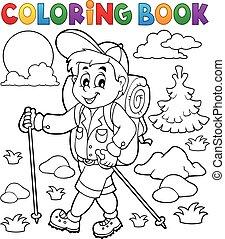 livre coloration, randonneur, extérieur