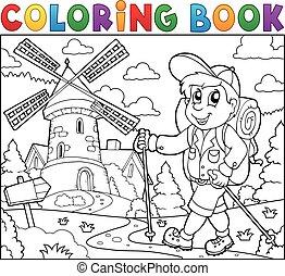 livre coloration, randonneur, près, éolienne