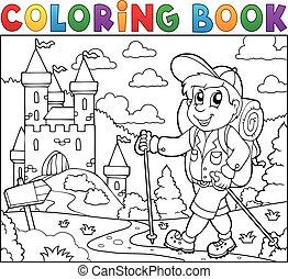 livre coloration, randonneur, près, château