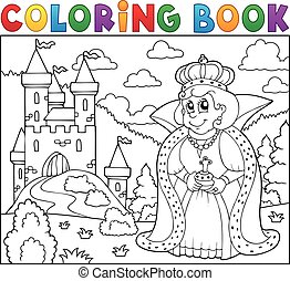 livre coloration, reine, près, château