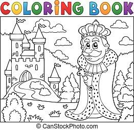 livre coloration, roi, près, château
