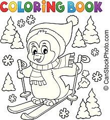 livre coloration, ski, manchots, thème, 1