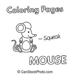 livre coloration, souris, dessin animé
