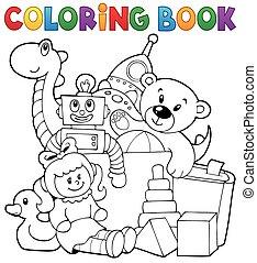 livre coloration, tas, jouets