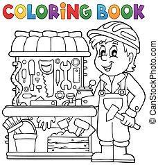 livre coloration, thème, 2, enfant joue