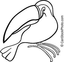 livre coloration, toucan, dessin animé