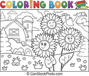 livre coloration, tournesols, près, ferme